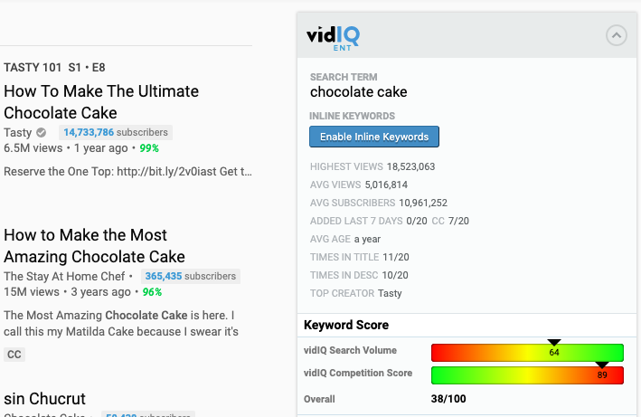 vidIQ keyword research tool