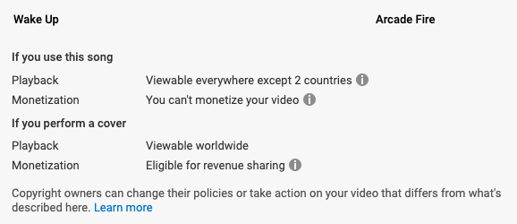 youtube music policy