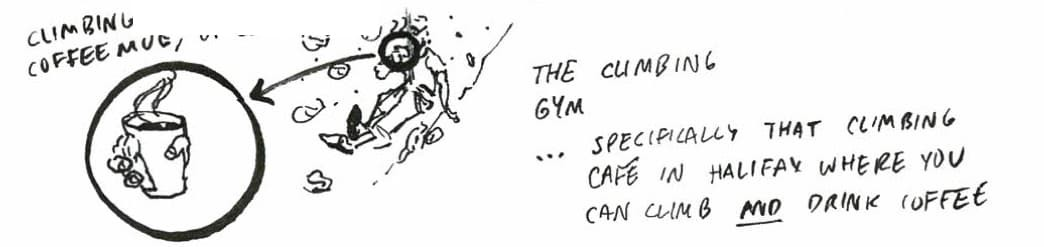 The climbing gym— specificially that climbing café in Halifax where you can climb AND drink coffee (depicted: climbing coffee mug)