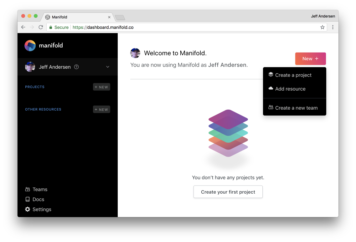 Create a project, add a resource or start a new team from the Manifold Dashboard.