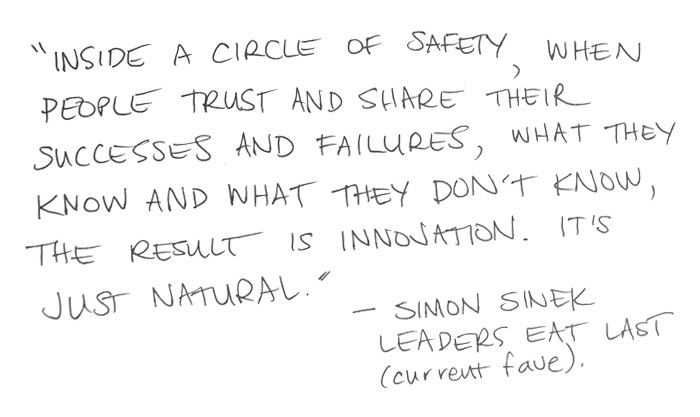 """Inside a circle of safety, when people trust and share their successes and failures, what they know and what they don't know, the result is innovation. It's just natural."" — Simon Sinek, Leaders eat last (current fave)"