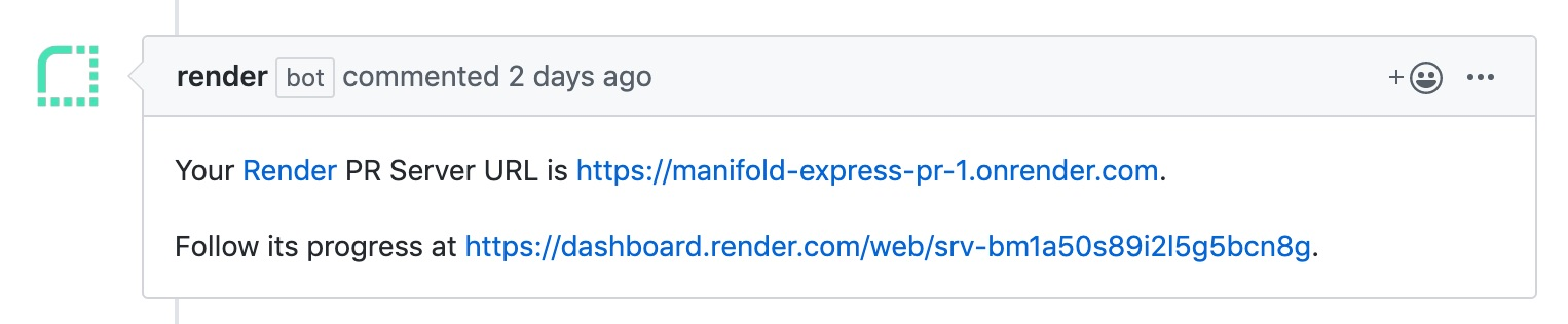 Render Pull Request Preview comment on GitHub