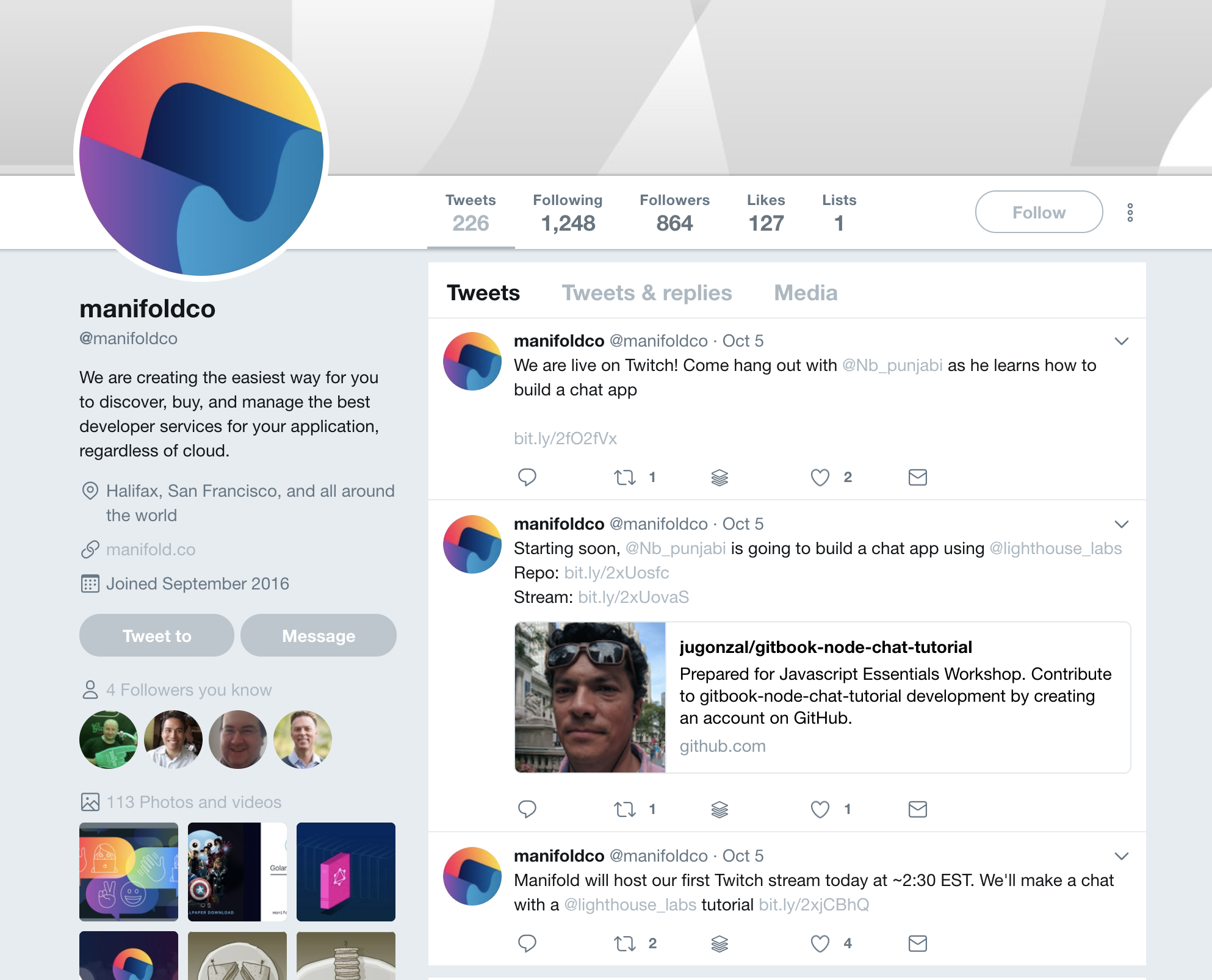 The @manifoldco profile page at Twitter