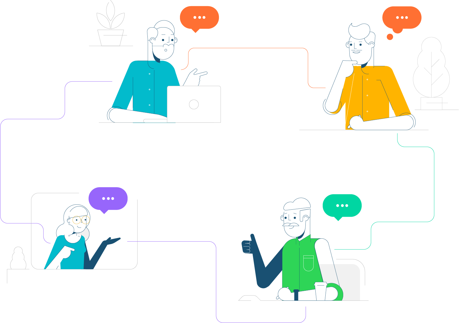 Illustration a team of 4 people talking together