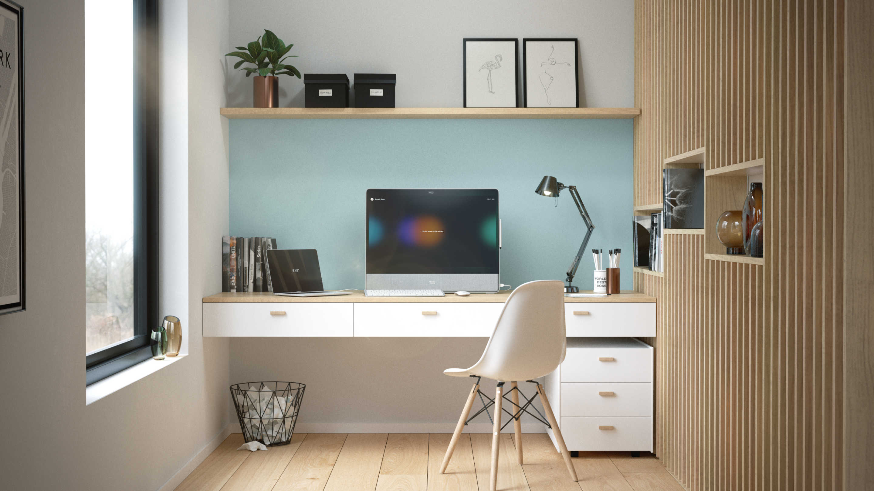 A welcoming personal home office featuring the Cisco Webex Desk Pro personal device.