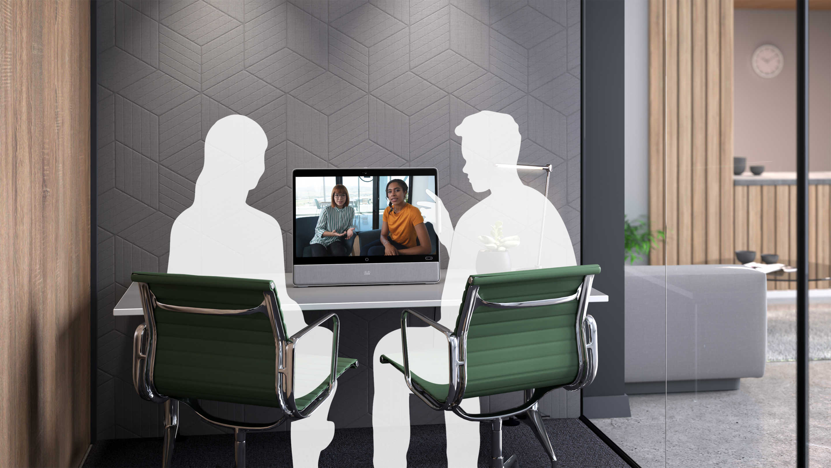 The Desk Pro used in a video meeting in a small huddle space