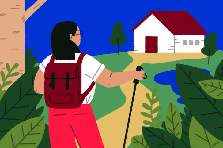 girl-hiking-path-house-illustration