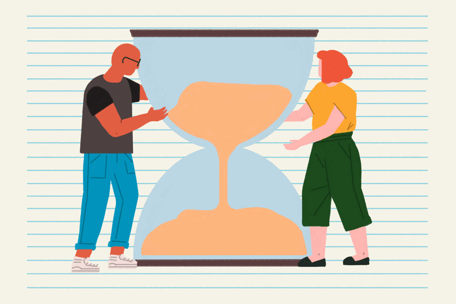 man-and-woman-with-hourglass-illustration