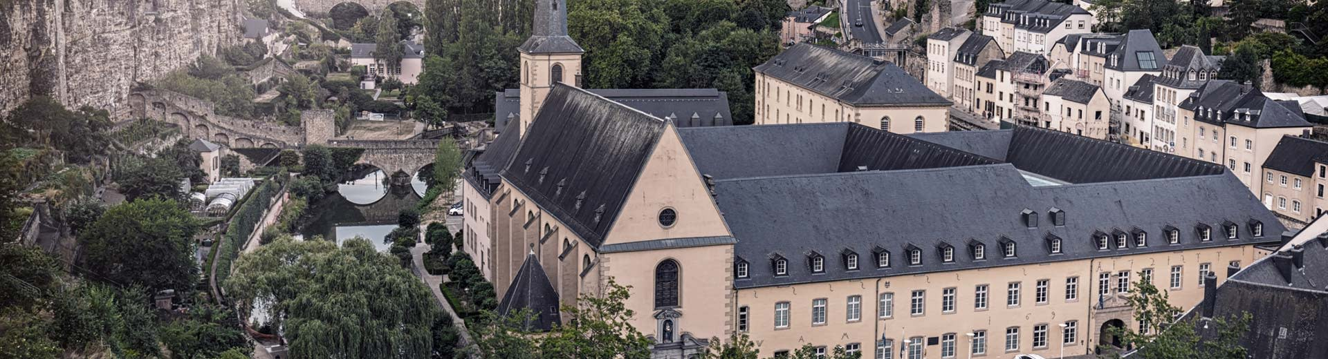 The historic town of Luxembourg, with winding streets and cobbled bridges