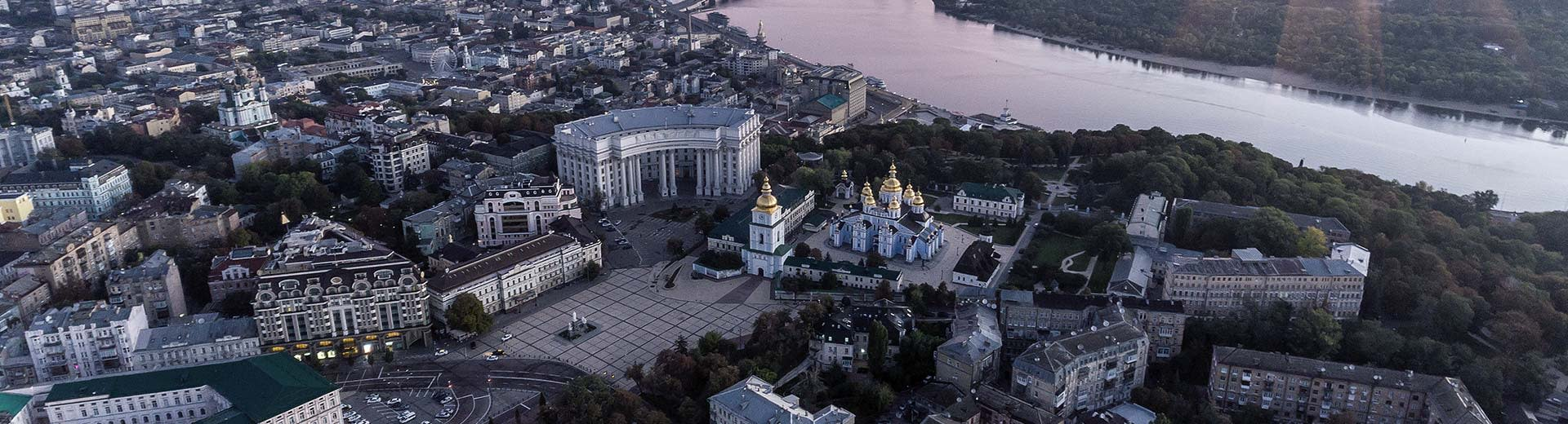The central area of Kiev on a cloudy day