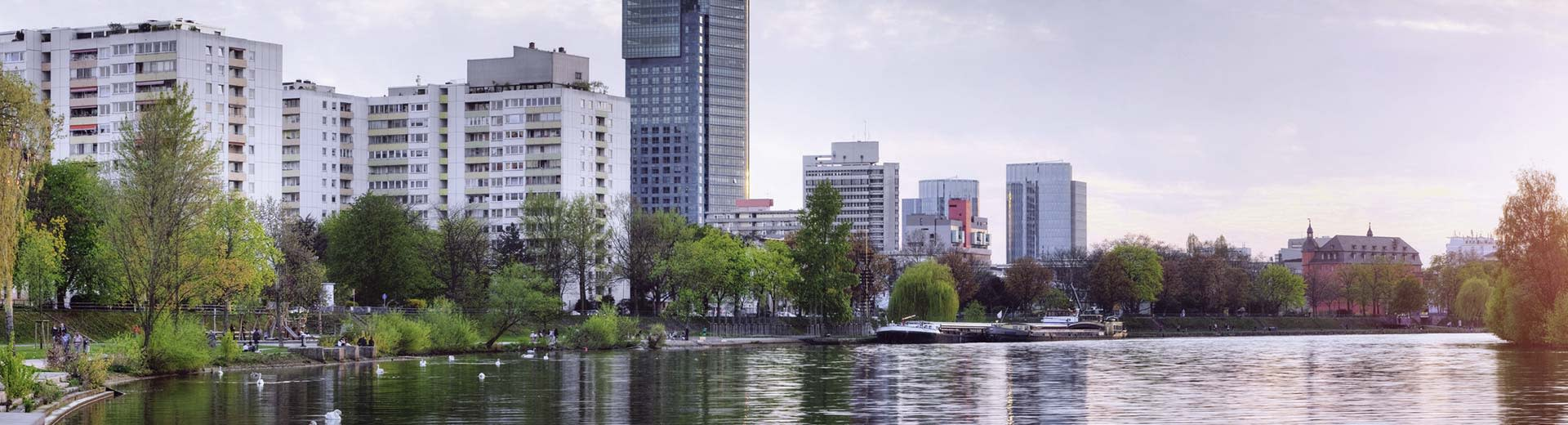 Along the waterfront, Offenbach's high-rise apartment buildings dominate the skyline