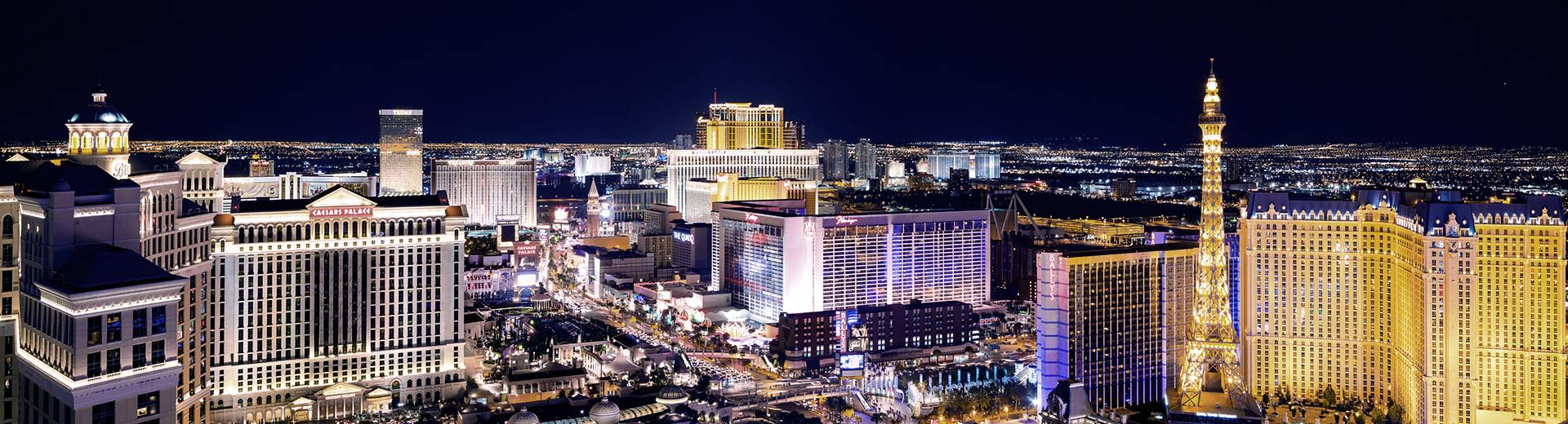 The famous Las Vegas strip lit up at night