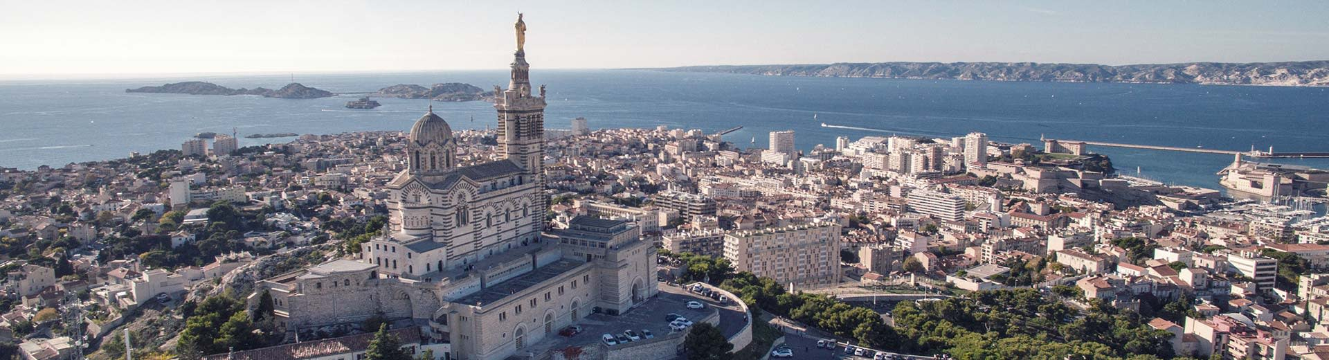 The beautiful port of Marseille stretches out on a clear and warm day