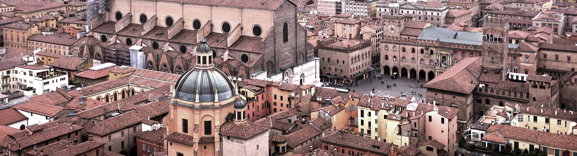 Birds eye view of Bologna city center with the chapel in the center
