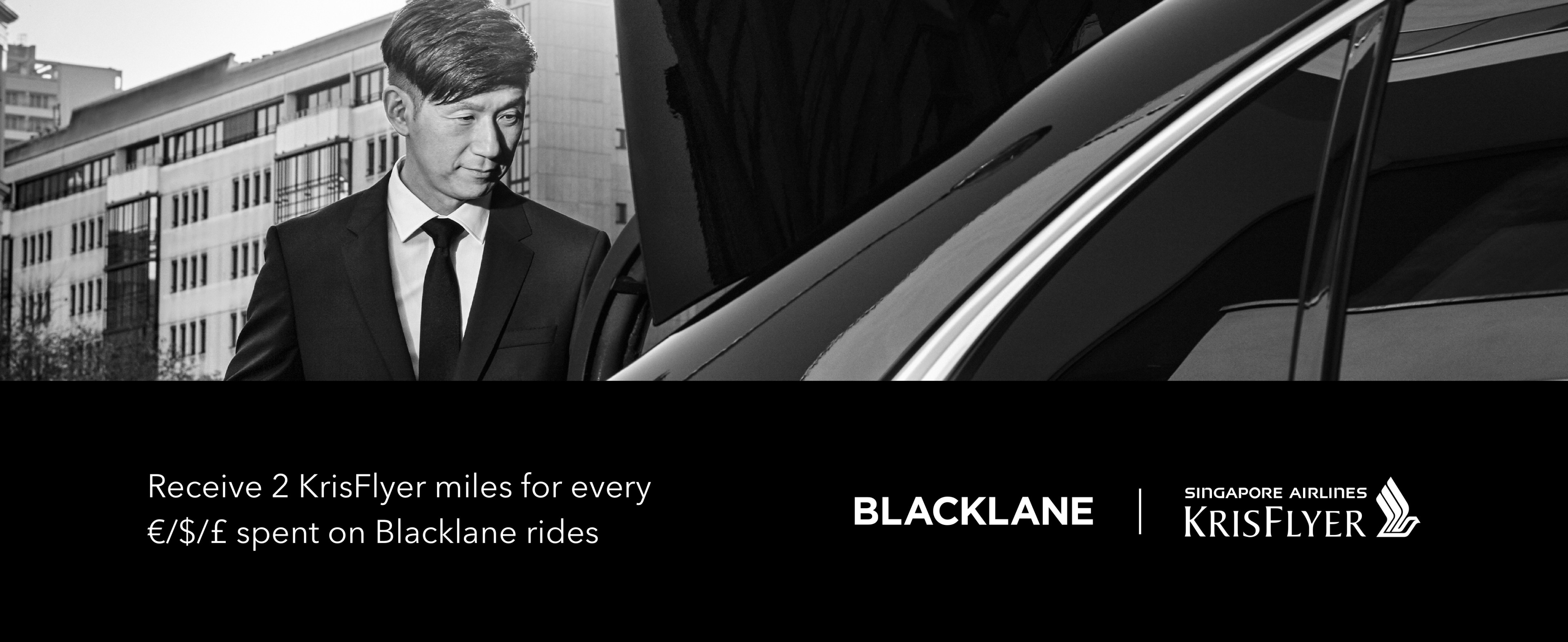 Receive 2 KrisFlyer miles for every dollar spent on Blacklane rides courtesy of Singapore Airlines.