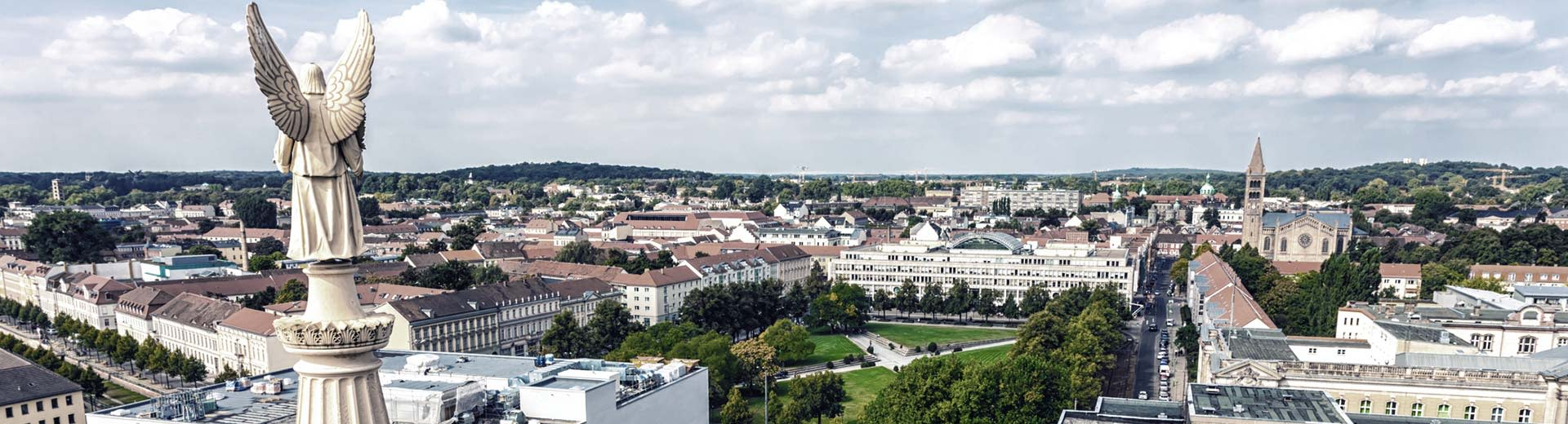 The beautiful east German town of Potsdam, with low-rise buildigns and plenty of green parks