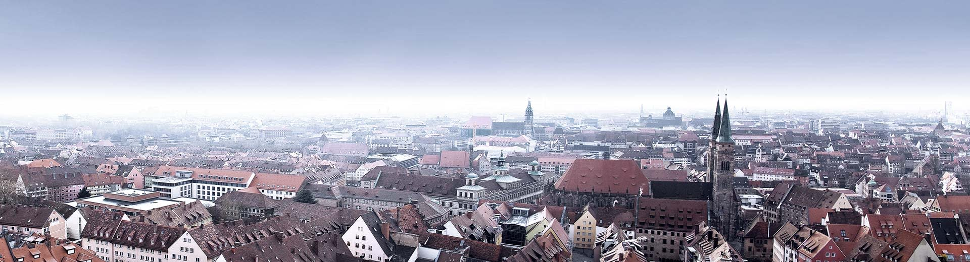 The red roofs and church steepls of historic Nuremberg