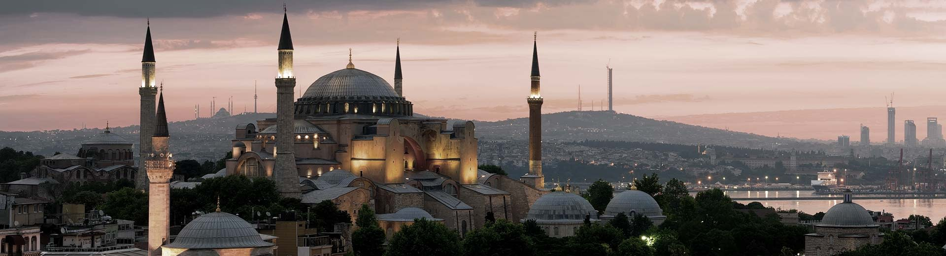 A Mosque silhouetted against the setting sun in Istanbul