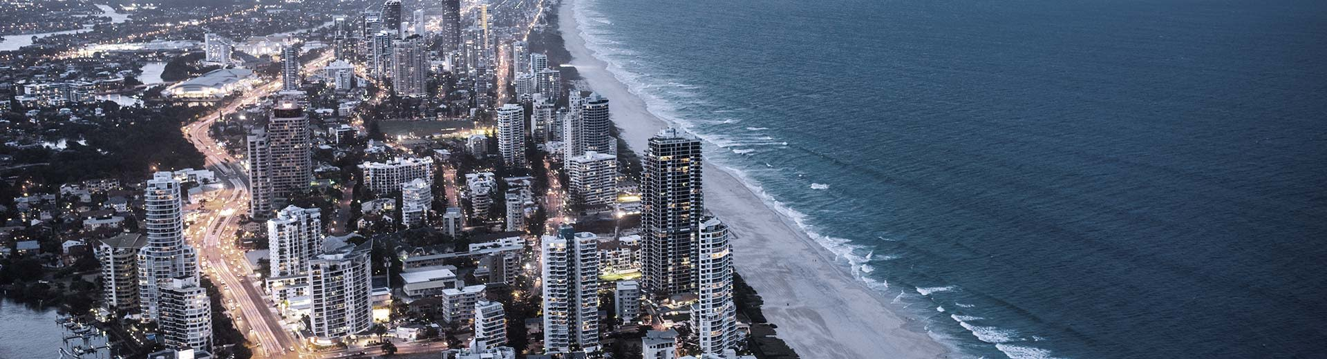 The high-rise buildings of Gold Coast stretch out along the gorgeous shoreline