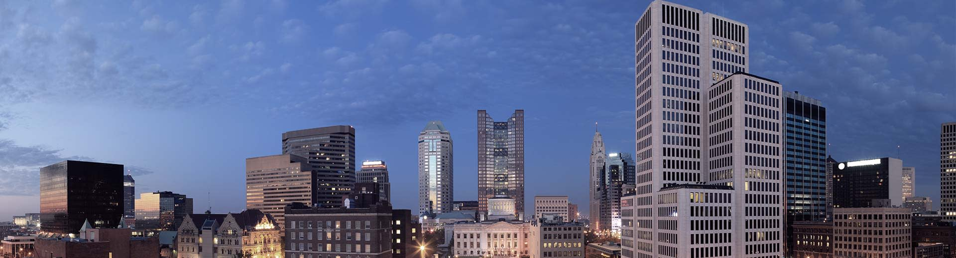 A range of high rise buildings in the downtown area of Columbus