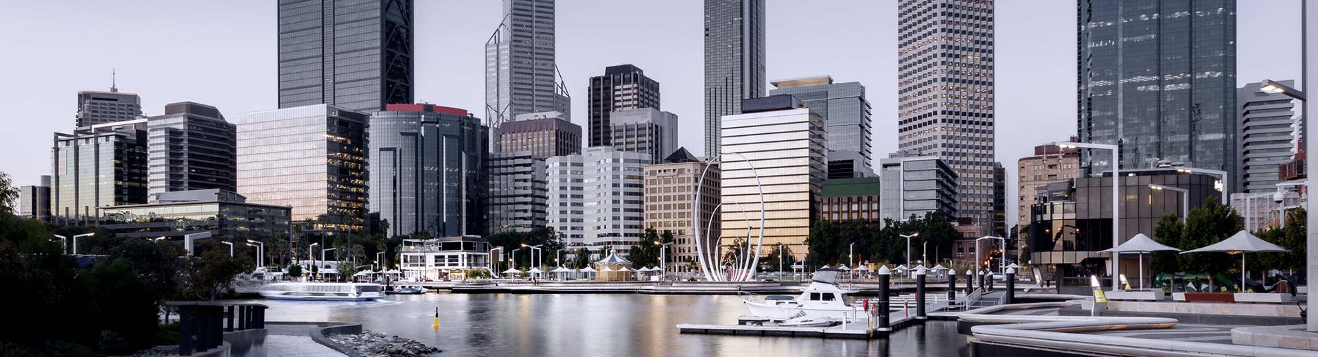 A view of the harbor of Perth, with some generic looking skyscrapers in the background