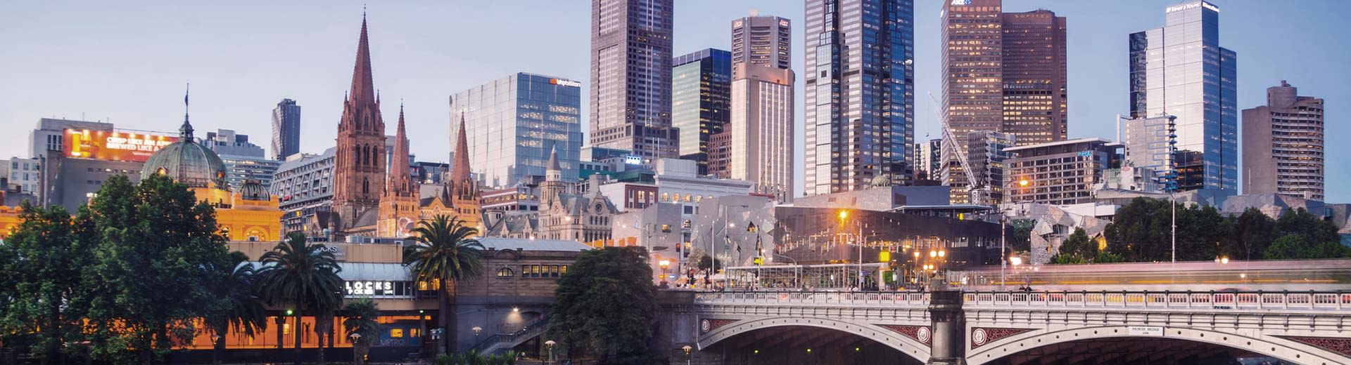 Skyscrapers and bridges of Melbourne in the half-light of dusk