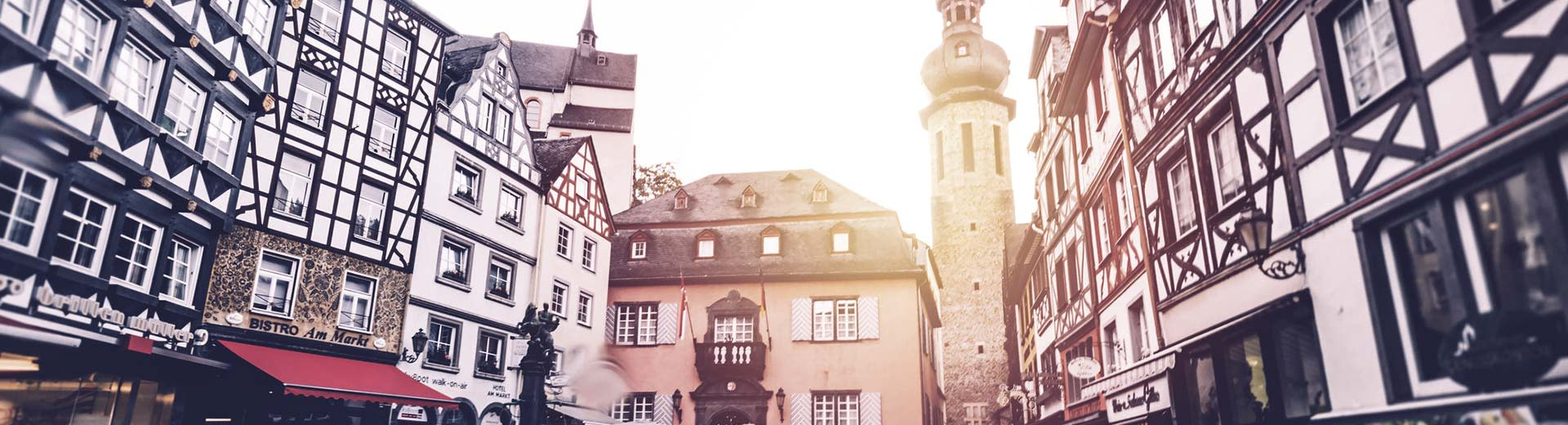 A historic and beautiful old town square in the city of Mainz