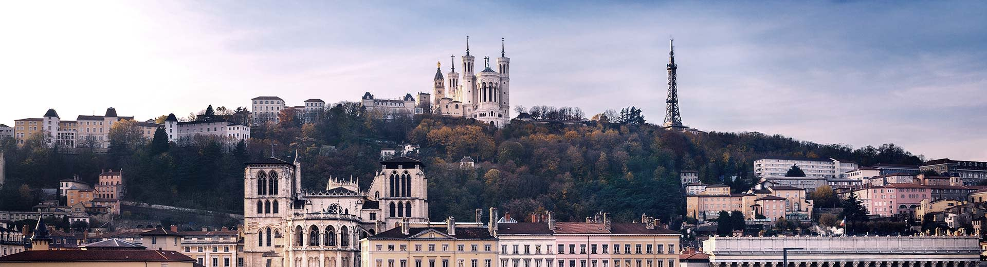 Church steeples above the beautiful French city of Lyon