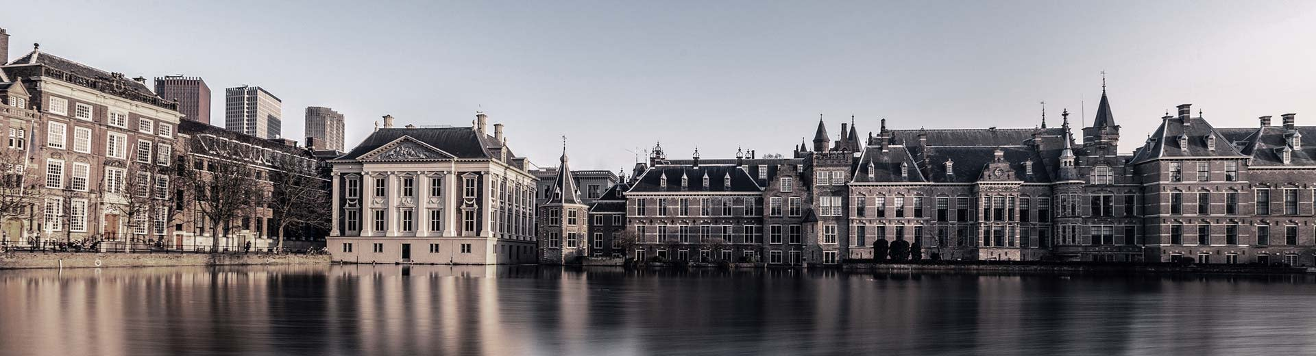 Behind a body of water in The Hague are an assortment of beautiful, historic buildings under a clear and bright sky