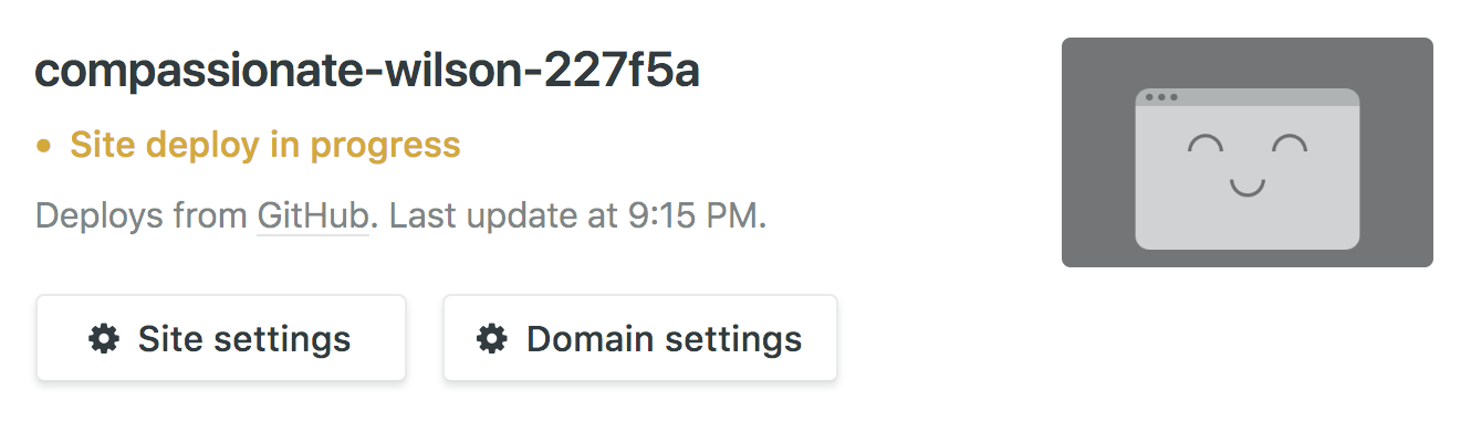 How to quickly deploy a Gatsby site with Netlify: site deploy in progress