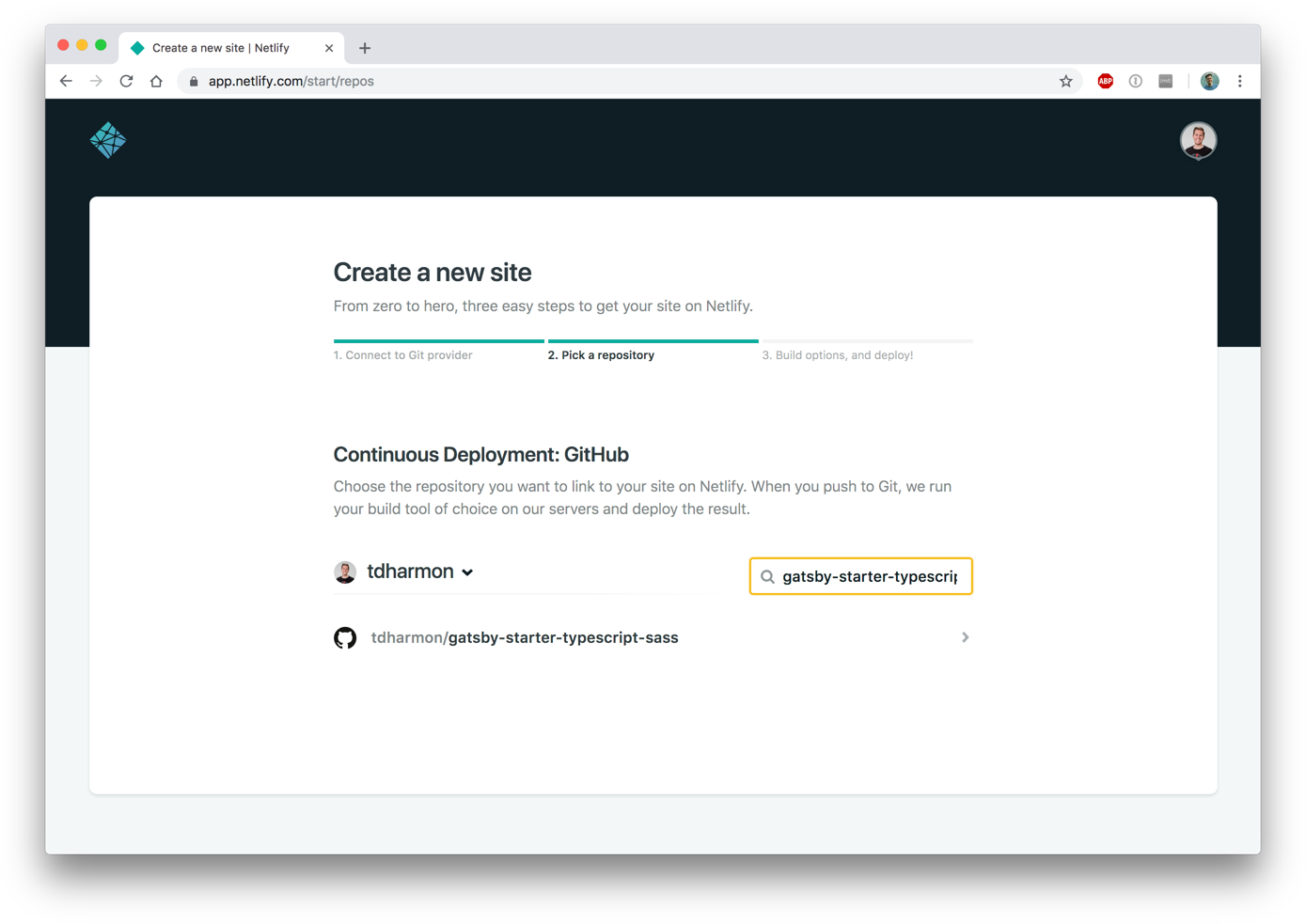 How to quickly deploy a Gatsby site with Netlify: connect a repo