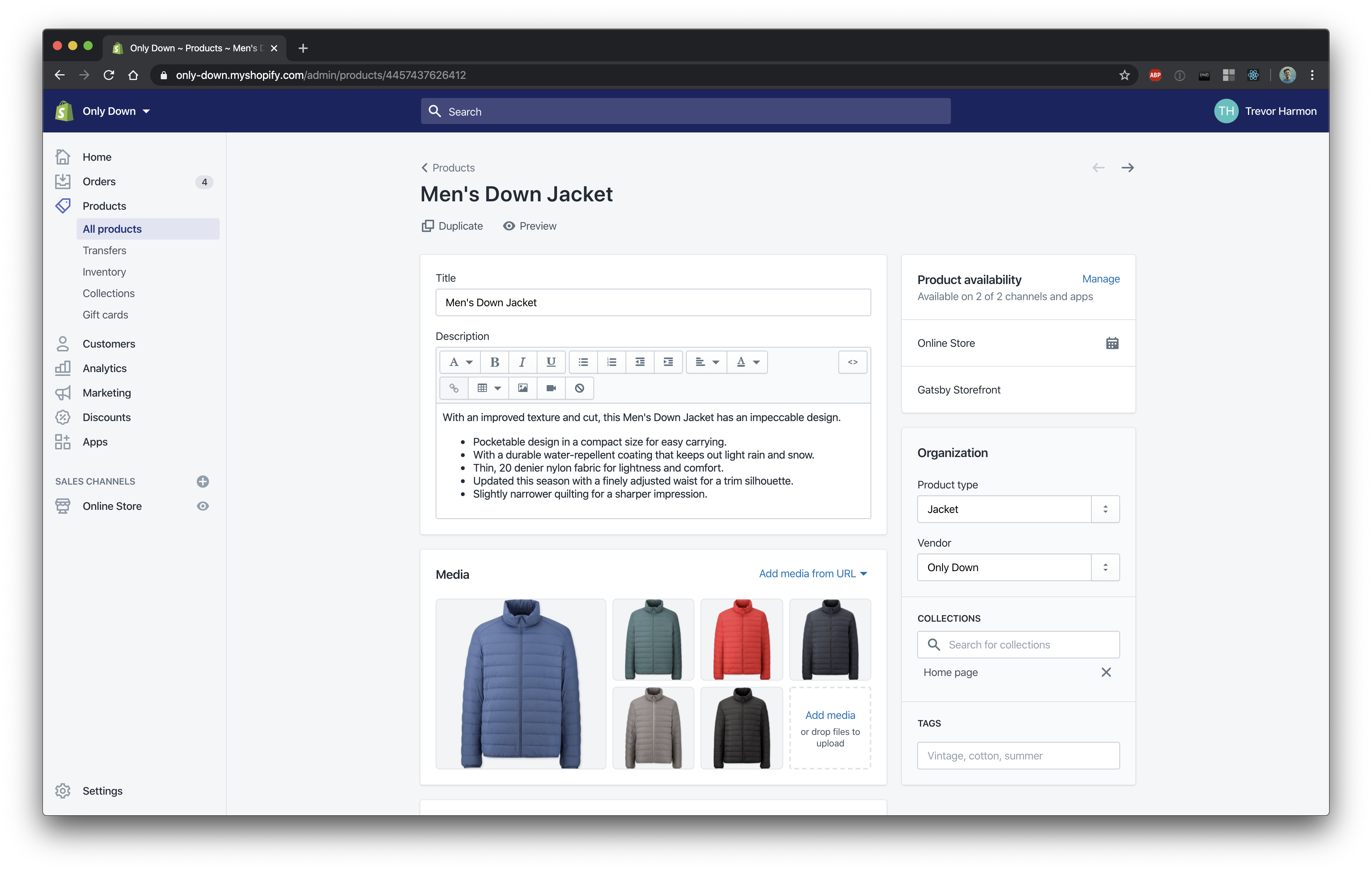 A screenshot of the Shopify product detail page showing a Men's Down Jacket with its description and photos