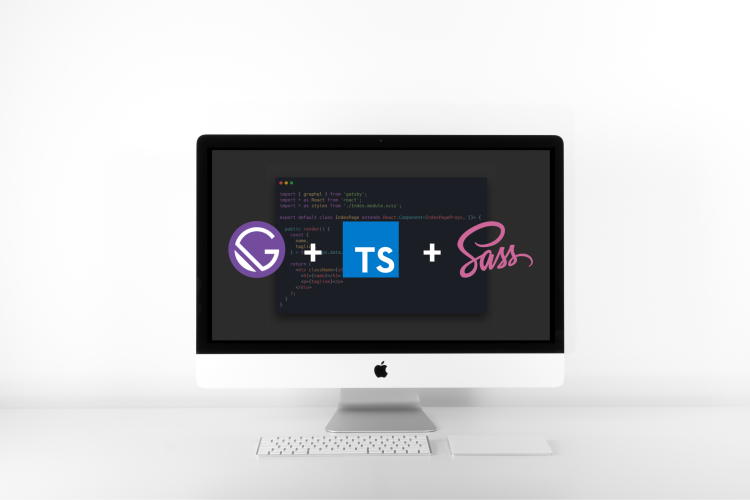 Gatsby + Typescript + Sass (iMac) | This is an image showing the logos of Gatsby, Typescript, and Sass on an iMac computer