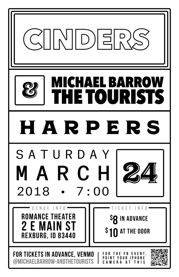 MB&T Cinders Rexburg Show Poster | Flyer design for a Michael Barrow & the Tourists show with Harpers & Cinders in Rexburg, Idaho