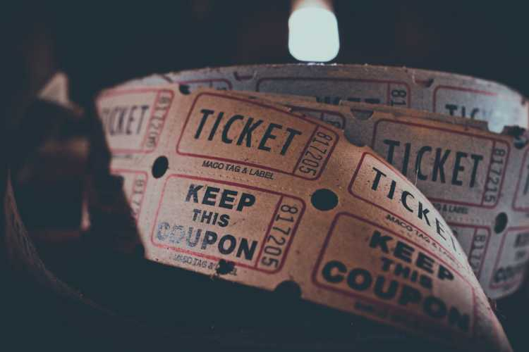 A roll of raffle tickets | A picture of a roll of raffle tickets