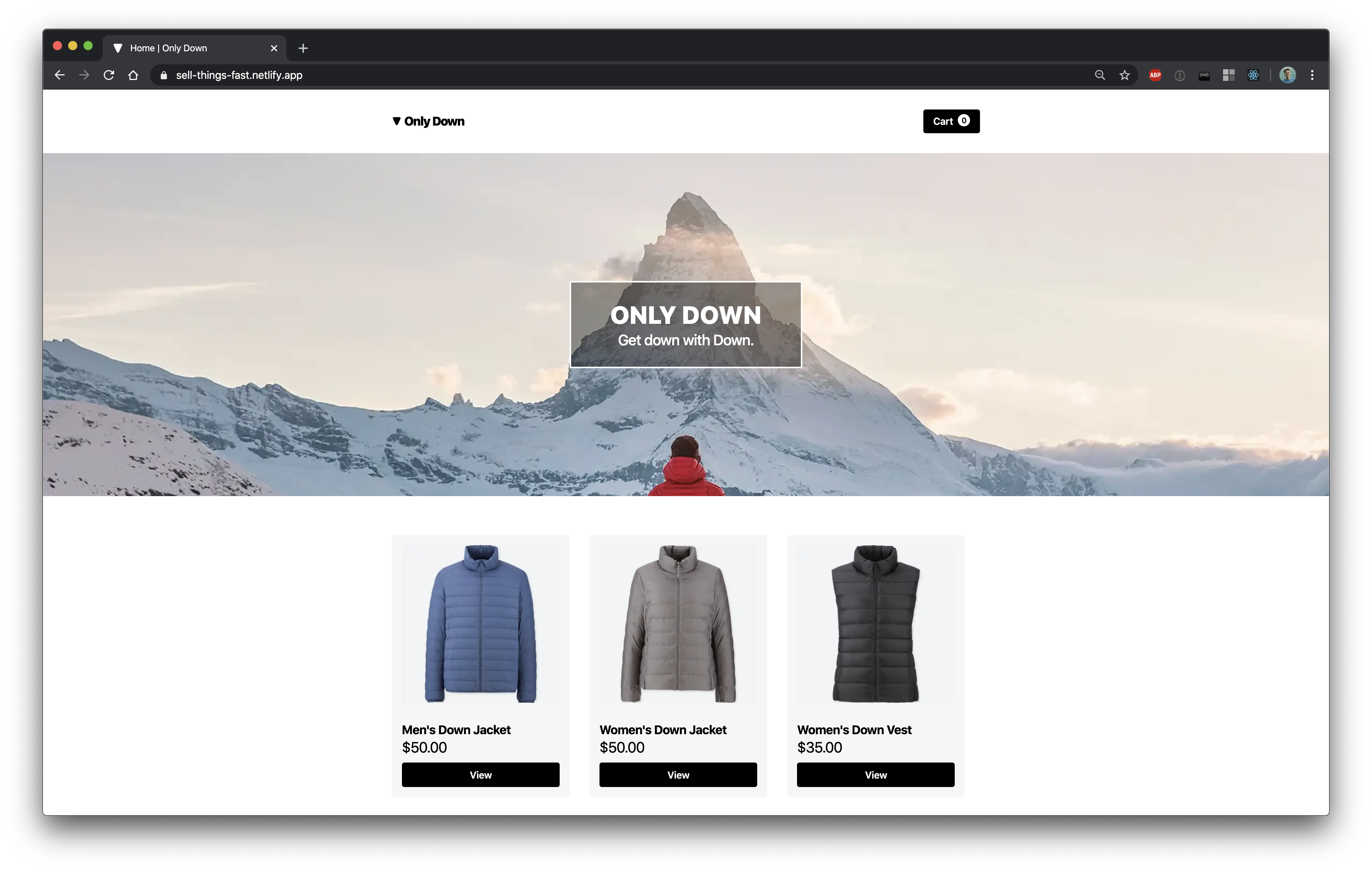 A screenshot of the homepage of Only Down showing an image of a mountain with the words Only Down over it, and three down-related products (two jackets and a vest)