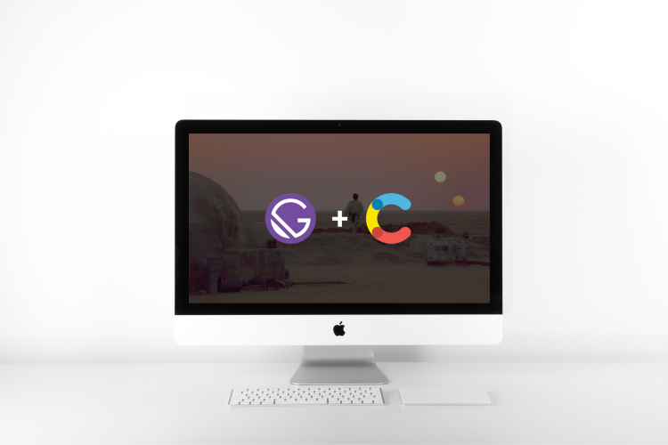 Gatsby + Contentful | This is a picture of the Gatsby logo and the Contenful logo over a picture of Tatooine on an iMac