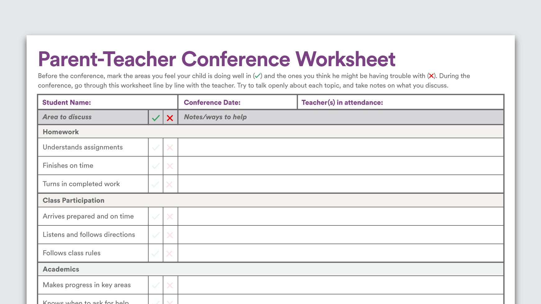 Download: Parent-Teacher Conference Worksheet - Understood