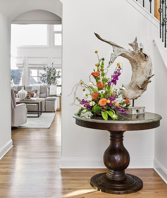 Entryway Design and Bluestone Pedestal Tables