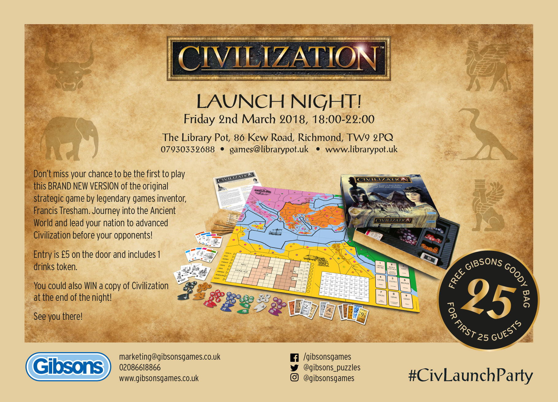 Civilization Launch Night A6 flyer
