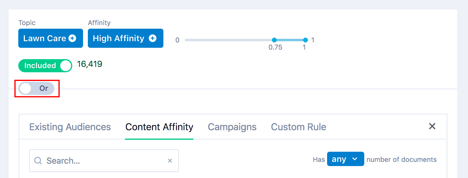 content affinity or rule