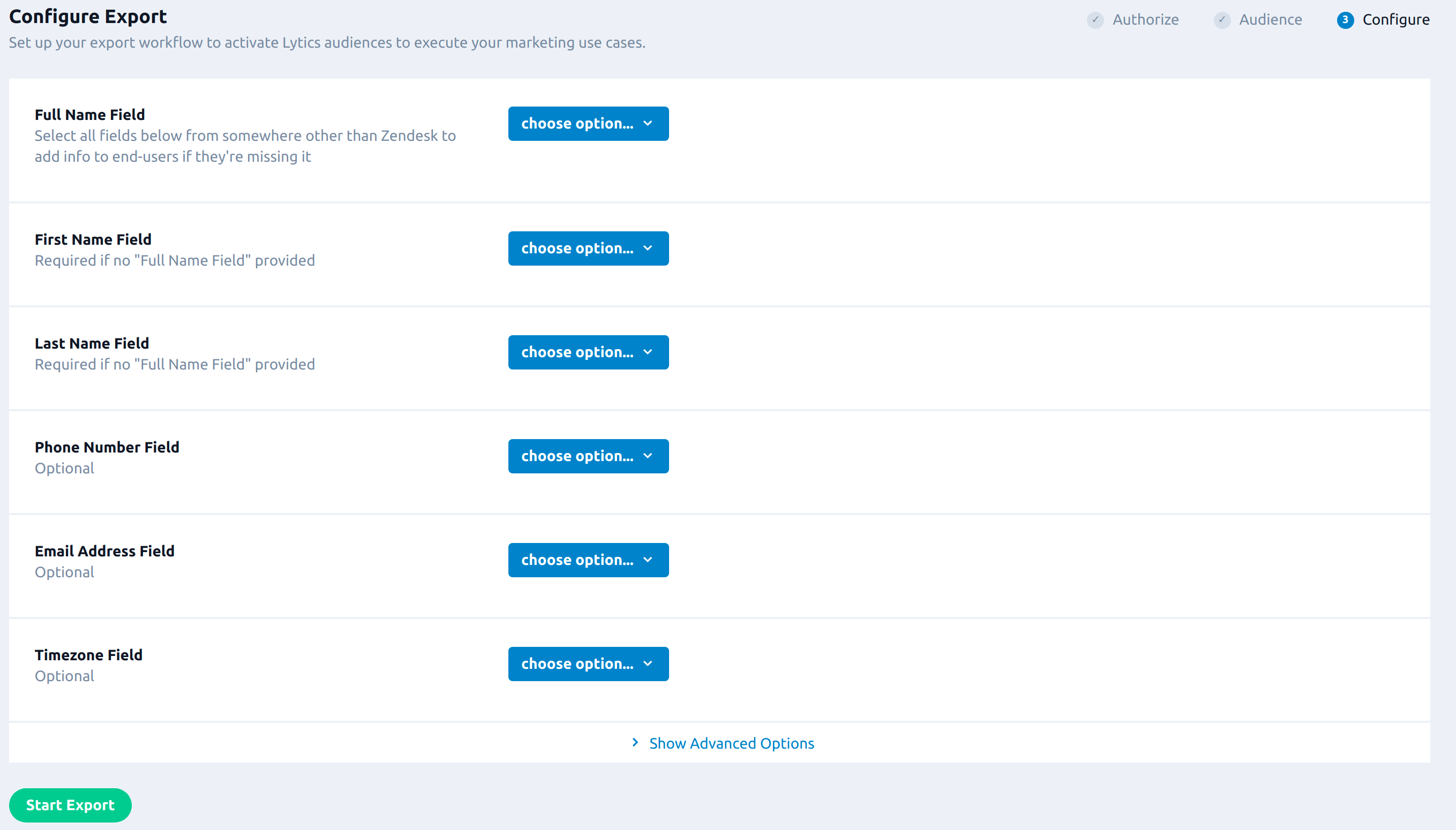zendesk export config new