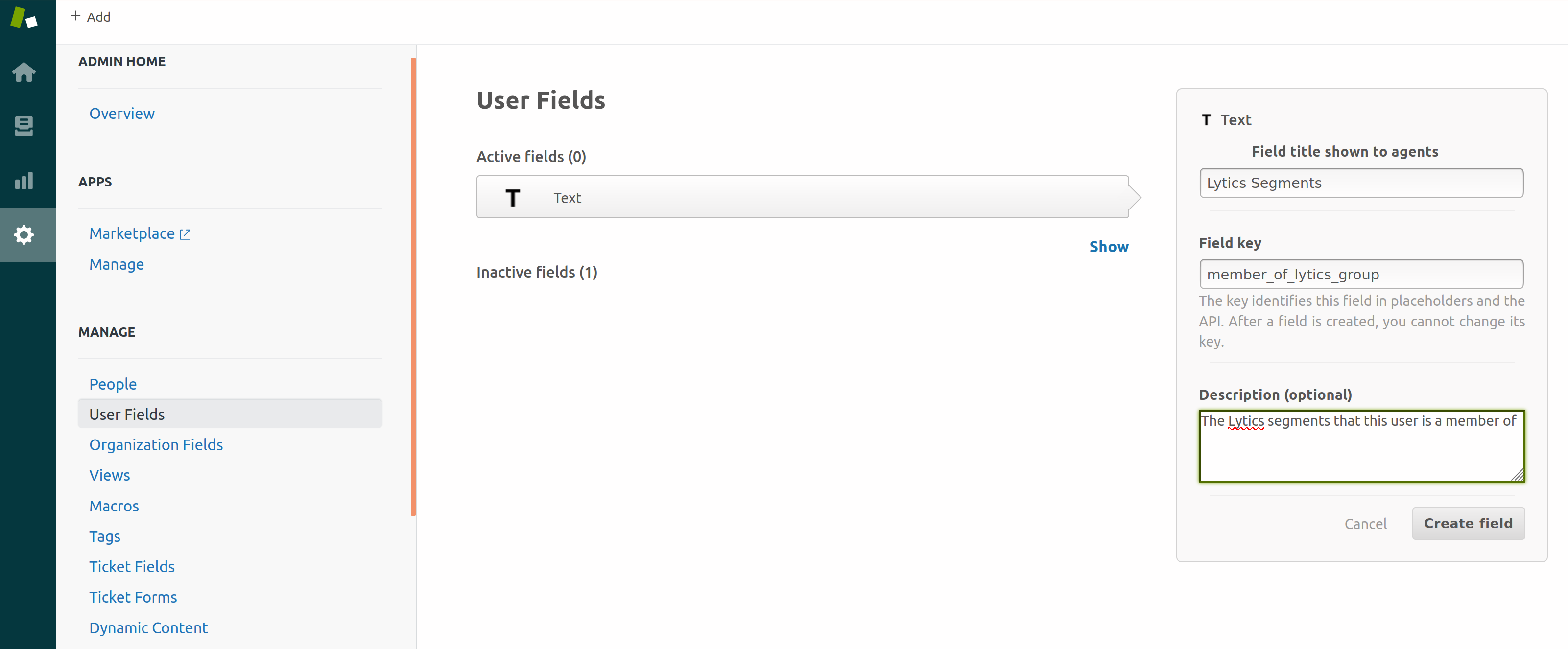 text user field correct fieldkey