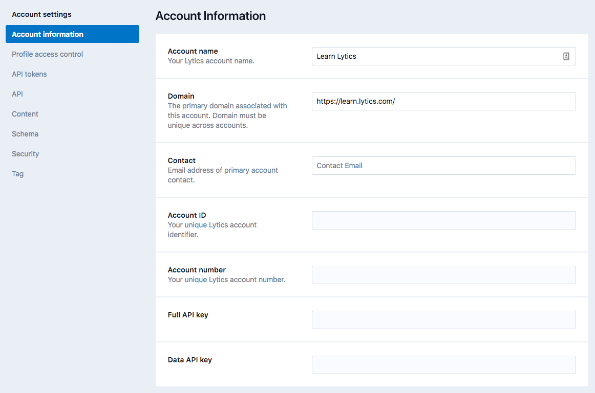Account Settings - Information