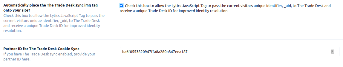 The Trade Desk Cookie Sync Configuration
