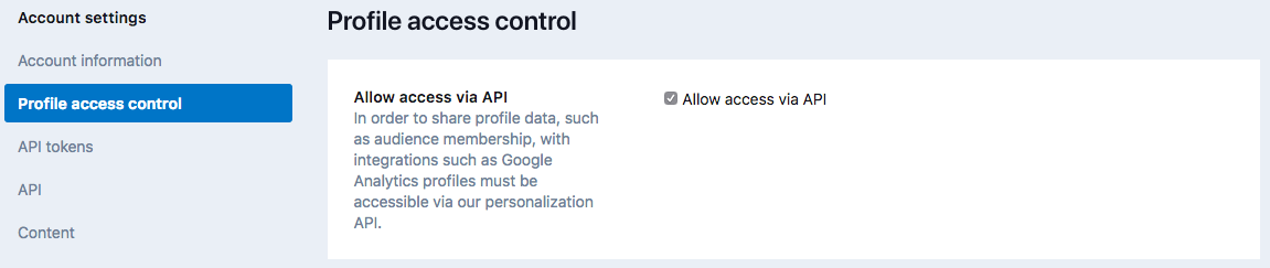 Account Settings - Profile Access Control