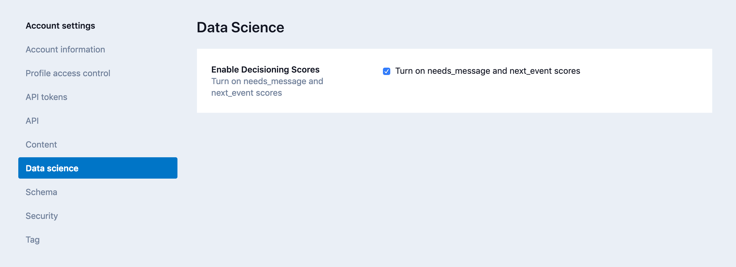 Account Settings - Data Science