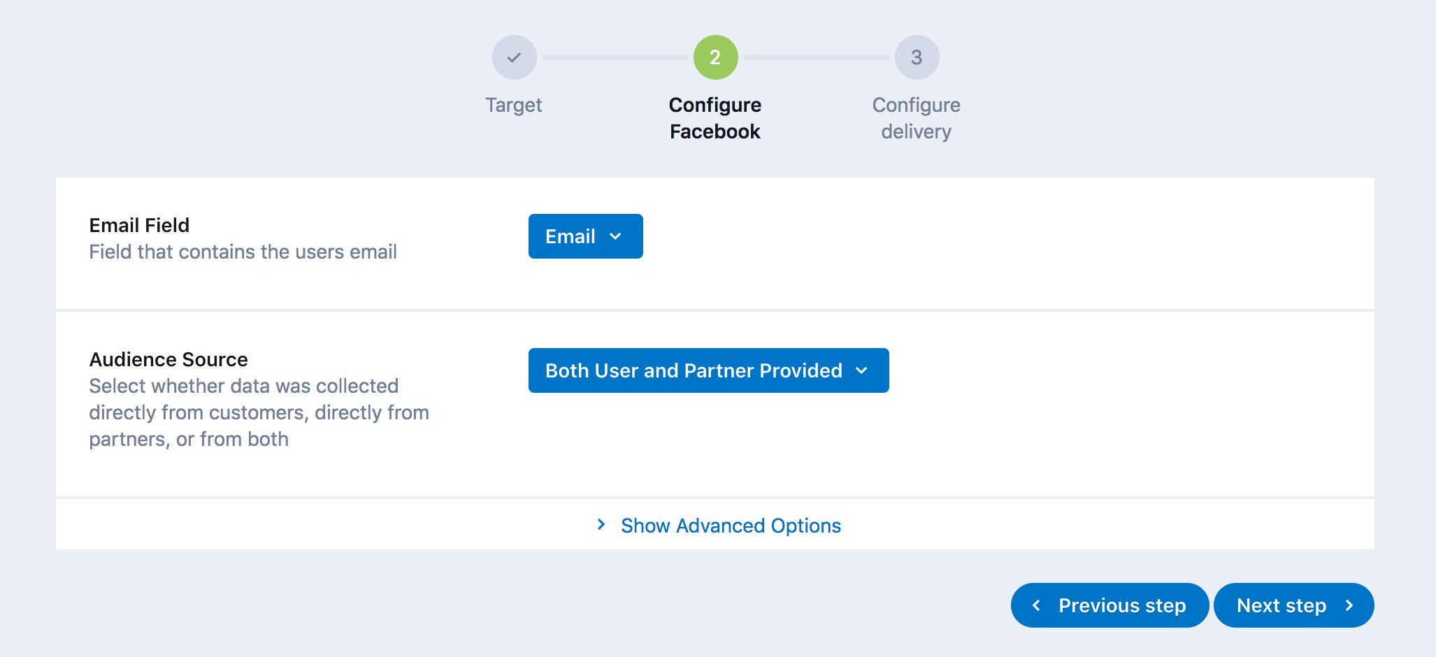 configure facebook step