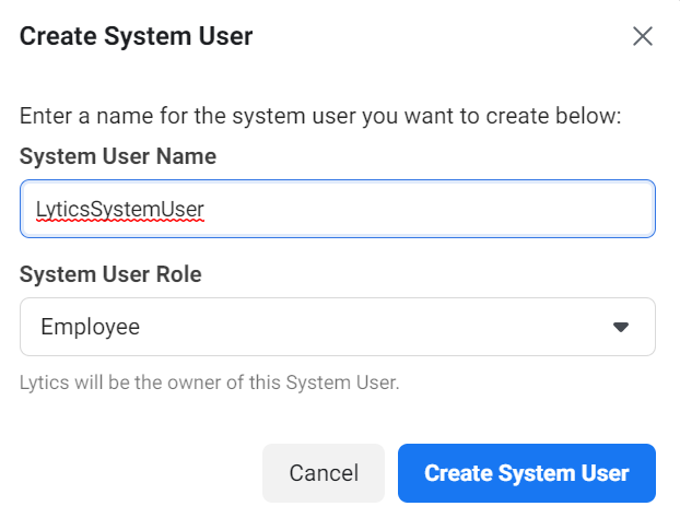 Facebook Create System User