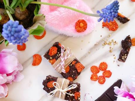 vegan carrot chia chocolate bark